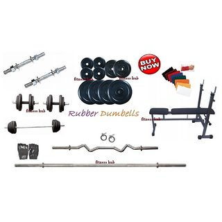 30 KG PACKAGE HOME GYM+INC/DEC/FLAT WEIGHT LIFTING BENCH+4 RODS(1 CURL)+G+WB
