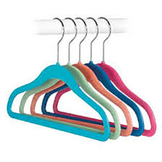 Connectwide Kids Cloth Valvet Hanger, Assorted (Set of 5)
