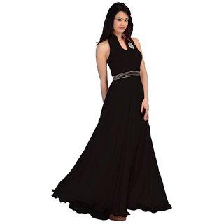 Black Georgette Plain Semi Stitched Gown Gown