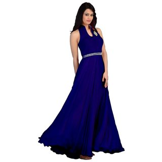 Blue Georgette Plain Semi Stitched Gown Gown