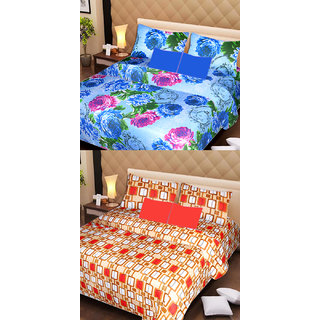 AKASH GANGA MULTI COLOUR  2 COTTON BEDSHEET WITH 4 PILLOW COVERS (AG1074)