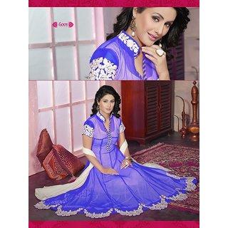 Florence Purple Net Unstitched Suit (SB-2733)