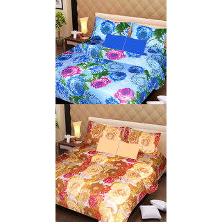 AKASH GANGA MULTI COLOUR  2 COTTON BEDSHEET WITH 4 PILLOW COVERS (AG1075)