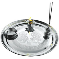 E-handicrafts Silver Stainless Steel Pooja Thali 12 Inch