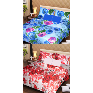 AKASH GANGA MULTI COLOUR  2 COTTON BEDSHEET WITH 4 PILLOW COVERS (AG1077)