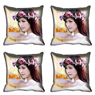 meSleep Beautiful Girl Digital Printed Cushion Cover 16x16