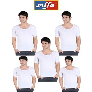 Alfa Men's Stylo White Vest with Sleeves - Pack of 5