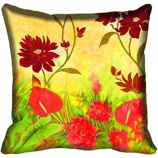 meSleep Floral Digital Printed Cushion Cover 16x16