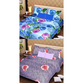 AKASH GANGA MULTI COLOUR  2 COTTON BEDSHEET WITH 4 PILLOW COVERS (AG1080)