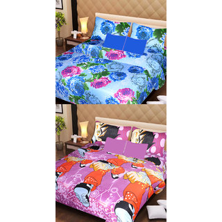 AKASH GANGA MULTI COLOUR  2 COTTON BEDSHEET WITH 4 PILLOW COVERS (AG1081)