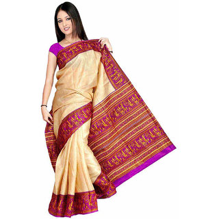 Somya Purple Linen Printed Saree With Blouse