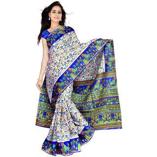 Somya Foxy Bhagalpuri Silk Saree With Blue Varli Print