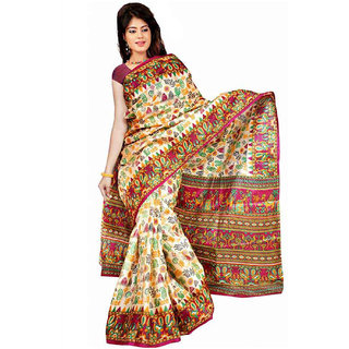 Somya Maroon Linen Printed Saree With Blouse