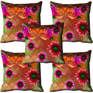 meSleep Floral Digital Printed Cushion Cover 16x16