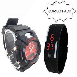 BRAND NEW ANALOG  DIGITAL SPORT WATCH RED SMALL WITH 1 TOUCH SCREEN LED WATCH !