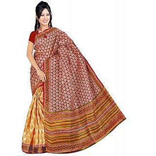 Somya Peach Linen Printed Saree With Blouse