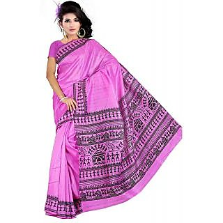 Somya Superb Womens Bhagalpuri Silk Varli Print Purple Saree
