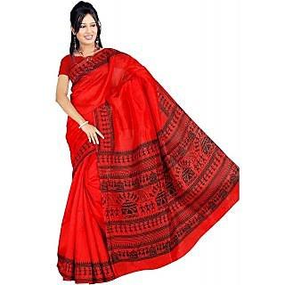 Somya Swell Womens Bhagalpuri Silk Varli Print Red Saree