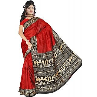 Somya Symmetrical Womens Bhagalpuri Silk Varli Print Red Saree