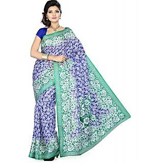 Somya New Design Womens Bhagalpuri Silk Printed Blue Saree