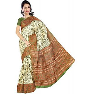 Somya Purple & Green Linen Printed Saree With Blouse