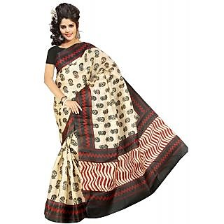 Somya Orange Linen Printed Saree With Blouse