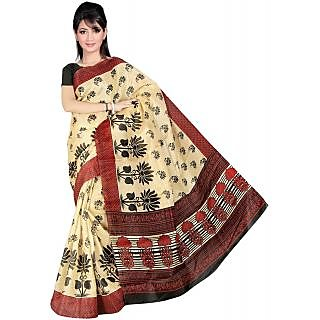 Somya Uptown Womens Bhagalpuri Silk Printed Black and Red Saree