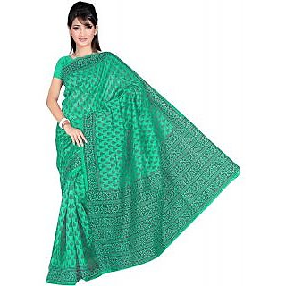 Somya Captivating Womens Bhagalpuri Silk Printed Green Saree