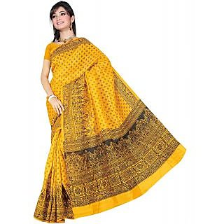 Somya Tremendous Womens Bhagalpuri Silk Printed Dark Yellow Saree