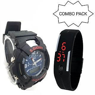 NEW ANALOG  DIGITAL SPORT WATCH BLUE SMALL WITH 1 TOUCH SCREEN RED LED WATCH !!