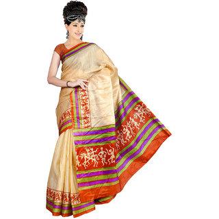 Somya Purple Linen Printed Saree With Blouse
