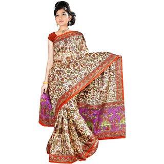 Somya Peach Linen Printed Saree With Blouse