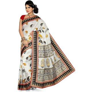 Somya Noticeable Womens Bhagalpuri Silk Printed Green Saree