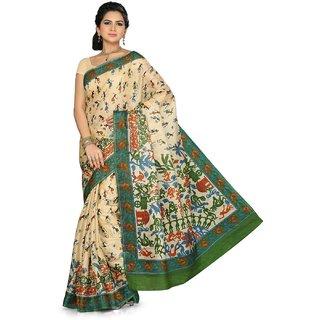 Somya Brown Linen Printed Saree With Blouse
