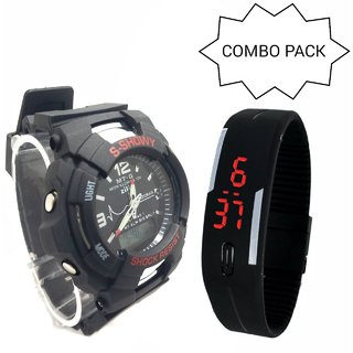 BRAND NEW ANALOG  DIGITAL SPORT WATCH BLACK SMALL WITH 1 TOUCH SCREEN LED WATCH