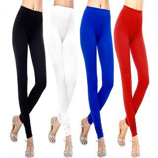 Pack of 4 Leggings - Black/White/Red/Blue