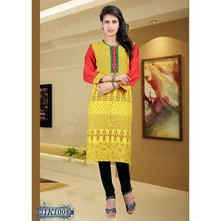 Printed Yellow & Red Cotton Casual kurti