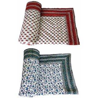 Marwal Como Of 2 Jaipuri Traditional Ethnic Mughal Design Single Cotton Printed Bed Quilt/ Razai