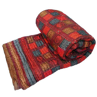 Marwal Jaipuri Traditional Ethnic Single Cotton Printed Bed Quilt/ Razai