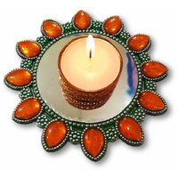 Unique Arts Floating Kundan Diya Candle Holder In Metal Look For Diwali