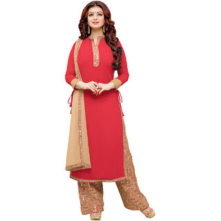 Sareemall Red Semi sttiched suit with Matching Dupatta 2KRT2009