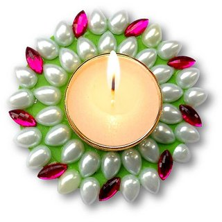 Unique Arts Floating Kundan Diya candle greenpink for Diwali