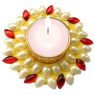 Unique Arts Floating yellow & red Kundan Diya Candle for Diwali