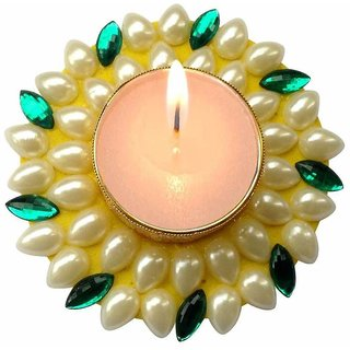 Unique Arts Floating Kundan Diya candle yellow&green for Diwali