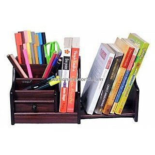 Onlineshoppee Big Wooden Pen Stand Office Stationery Book and Mobile Holder