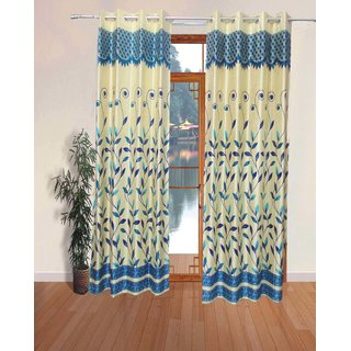 Fabbig Fancy Blue Panel Long Door Curtains (Set Of 2)