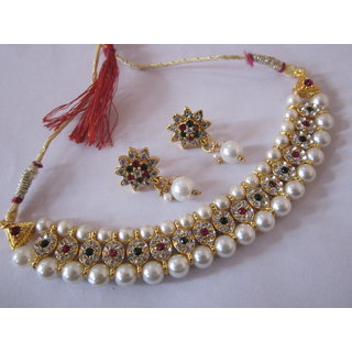 Royal Look Gold Plated Pearl Antique Necklace Earrings Jewellery Set