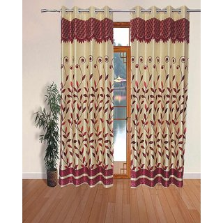 Fabbig Fancy Red Panel Long Door Curtains (Set of 2)