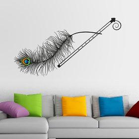 Walltola Pvc Krishna Flute And Peacock Feather Wall Sticker