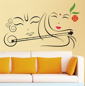 Walltola Pvc Radhe Krishna With Flute Wall Decal (20X28 Inch)